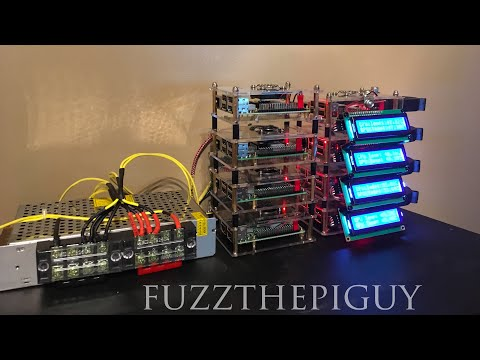 8 Raspberry Pi 3's With CPU Miner Installed Hooked Up To A 5 Volt 20 AMP Power Supply.