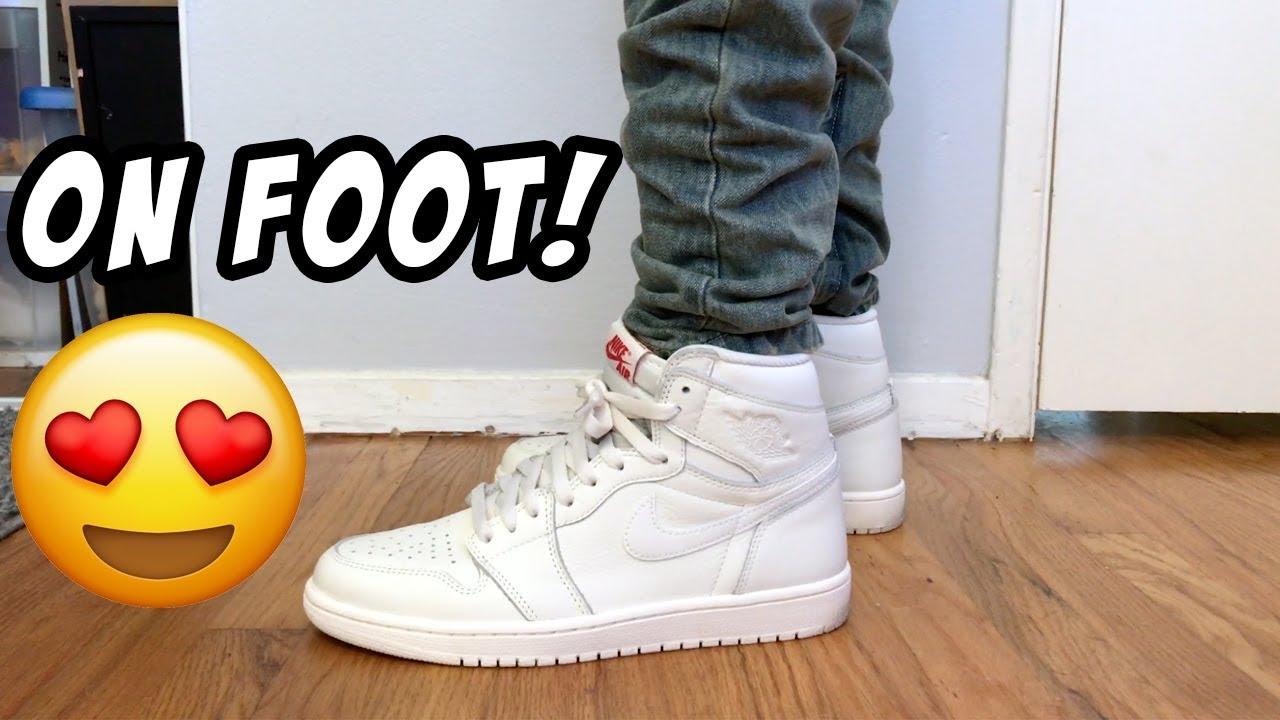 1d0afb9fbe4a Nike Air Jordan 1 Premium Essentials Sail ON FEET - YouTube