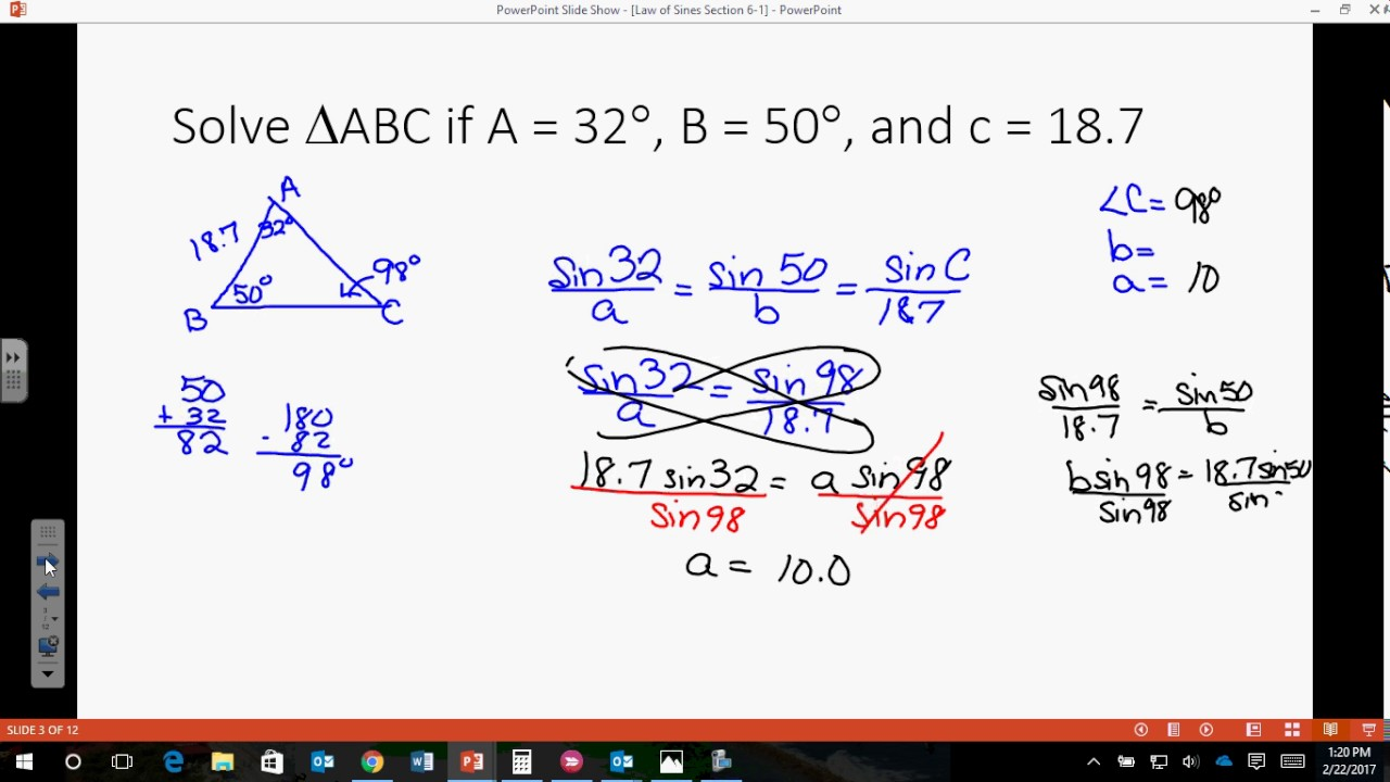 Law of Sines and Area of an Oblique Triangle - YouTube