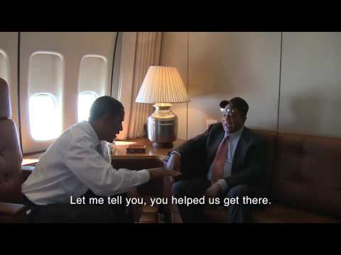 President Obama and Willie Mays on Air Force One
