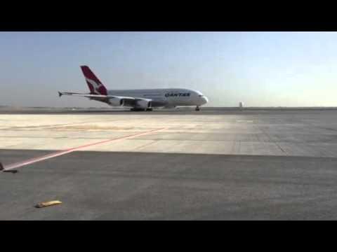 First Qantas A380 lands in muscat international  airport