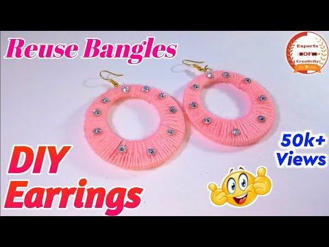 DIY Designer Earrings Making with Bangles|Earrings Using Wool & Waste Bangles|Easy Jewelry for Girls