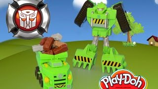 Play Doh Transformers Rescue Bots Boulder the Construction Bot Toy Review