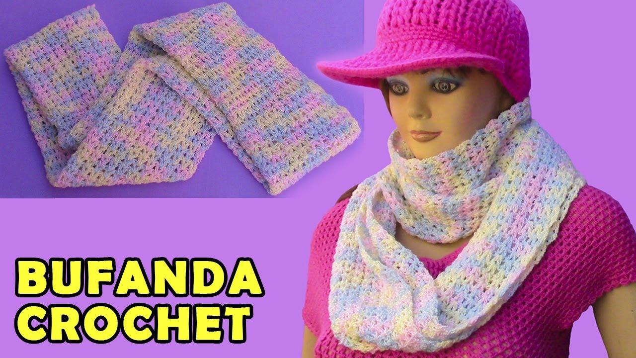 Bufanda circular, infinita o tubular tejida a crochet para mujer ...