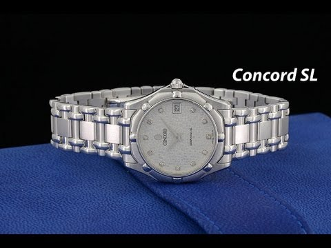 Concord Saratoga SL 18k White Gold Watch Mosaic Diamond Dial Box & Papers