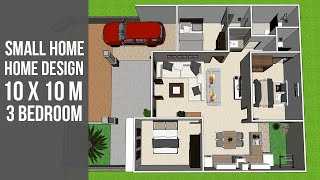 SMALL HOME DESIGN PLAN 10x10M 3 BEDROOM