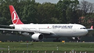 Turkish Airlines Airbus A330-343 TC-LOE Taxiing + Takeoff at Berlin Tegel Airport