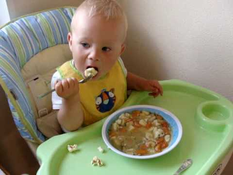 Mihkel Holm is 15 month old, but eating by himself is not the problem.