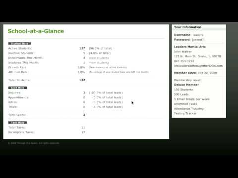 Martial Arts Software - Studentbase School-at-a-Glance