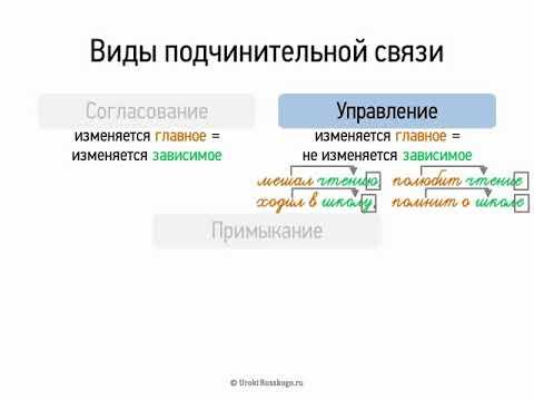 Виды подчинительной связи (8 класс, видеоурок-презентация)