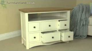 Cotswold Cream Painted Shaker Solid Oak Corner Tv Video Dvd Cabinet From Oak Furniture Land