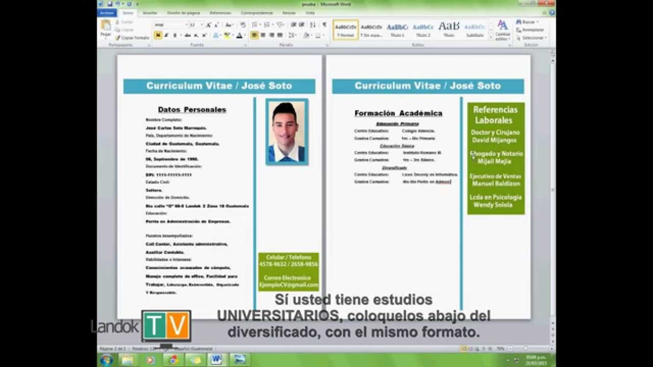 descargar formato de curriculum vitae en publisher