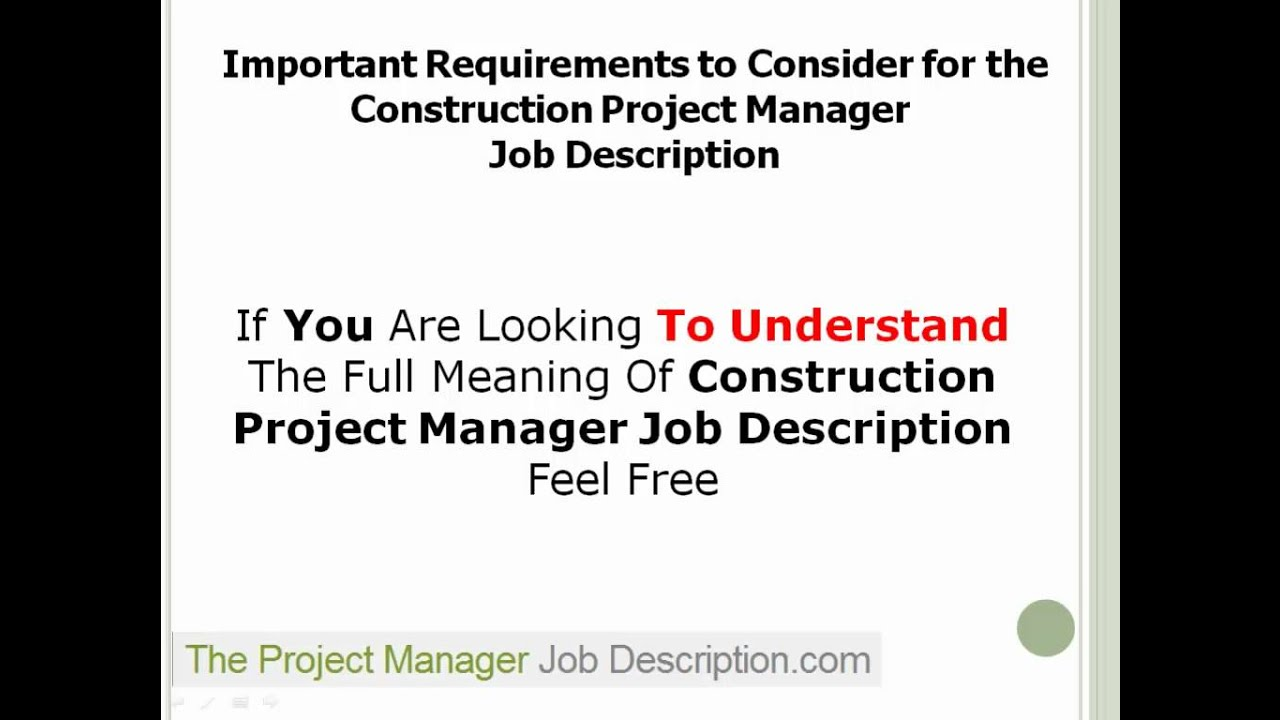 Construction Project Manager Job Description YouTube – Construction Project Manager Job Description