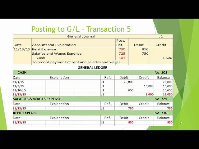 video 4 -Posting to the General Ledger