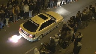tuned cars leaving car meet burnouts launch controls flames antilag sounds