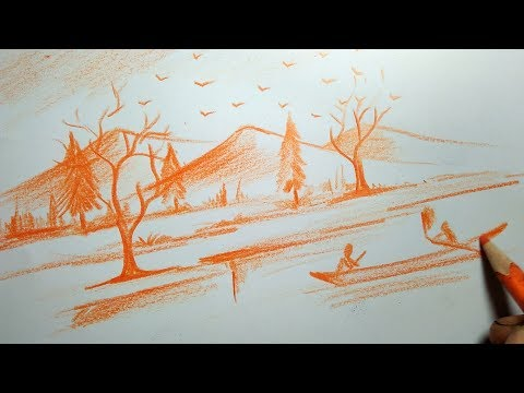 Haw to draw beautiful mounten  skeching for kids , landscape for beginners  by dipak kumar das