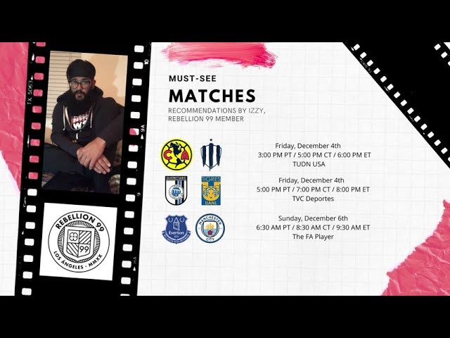 Must-See Matches I December 4-6, 2020