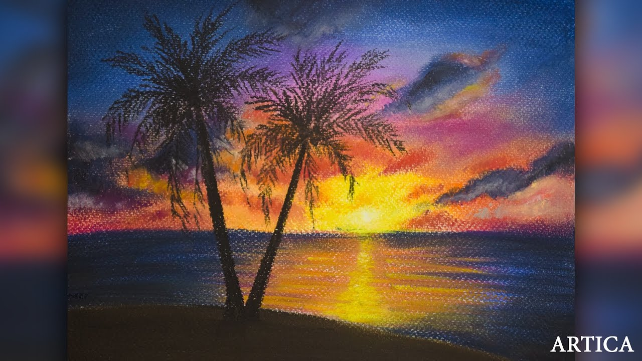How to paint a scenery of Sunset with oil pastels color ... |Pastel Drawings Of Sunsets