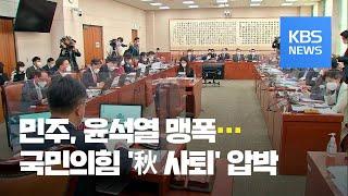 민주 '윤 맹폭' vs 국민의힘 '추 사퇴' 압박 / …
