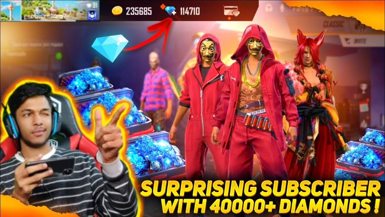 Surprising My Subscriber With 40,000 Diamonds & OMG SUBSCRIBER REACTION || at Garena Free Fire 2020