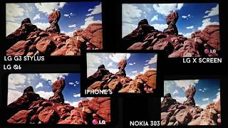 LG Q6 vs LG G3 Stylus vs LG X Screen vs iPhone 5 vs Nokia 303 [Display/Video Test] ~4K~