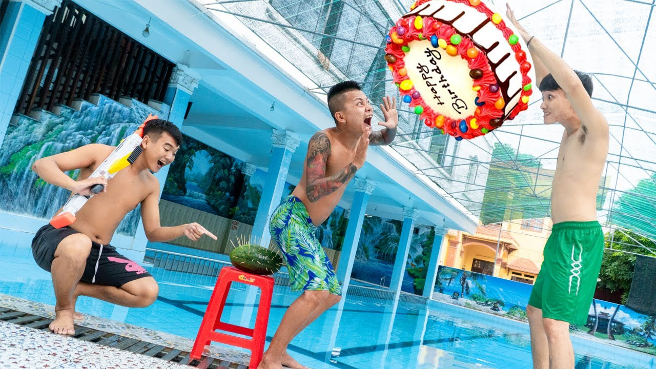 Squad SWAT Go Swimming Nerf Guns Birthday Cake Battle Funny Party at Pool | Action Nerf