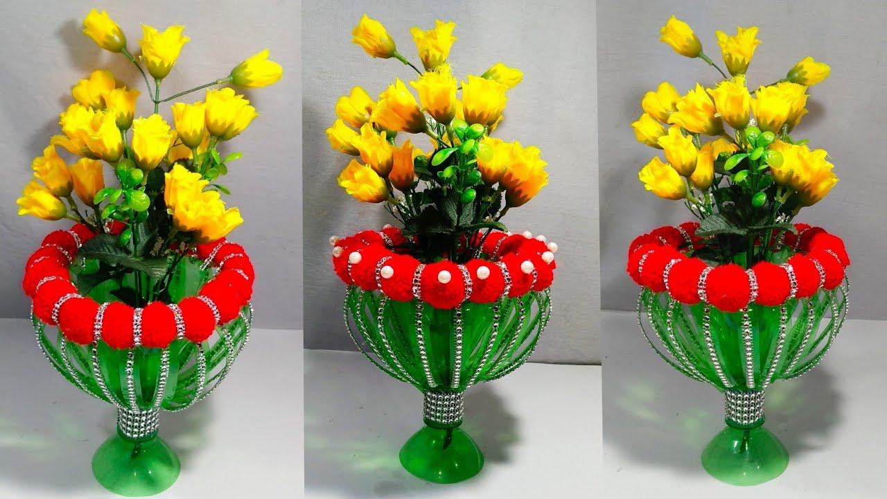 New Design Plastic Bottle Flower Pot Woolen Guldasta Flower Vase From Plastic Bottle New Craft
