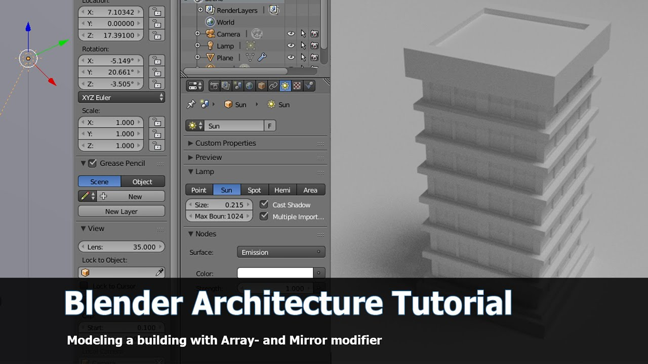 Four hour length tutorial on how to model a building for 3d.