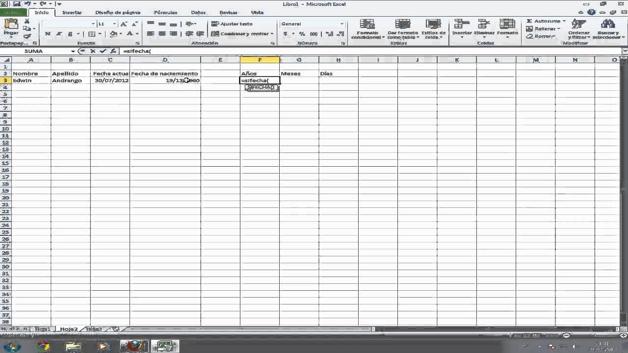 Formula en Excel para calcular años, meses y días de vida - YouTube