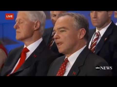 Bill Clinton Falls Asleep - Hillary Acceptance Speech DNC July 29th 2016