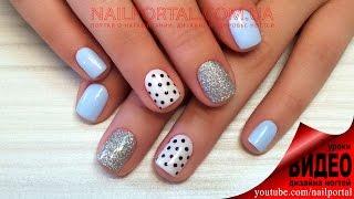 Дизайн ногтей гель-лак shellac - Дизайн блестками + роспись (видео уроки дизайна ногтей)