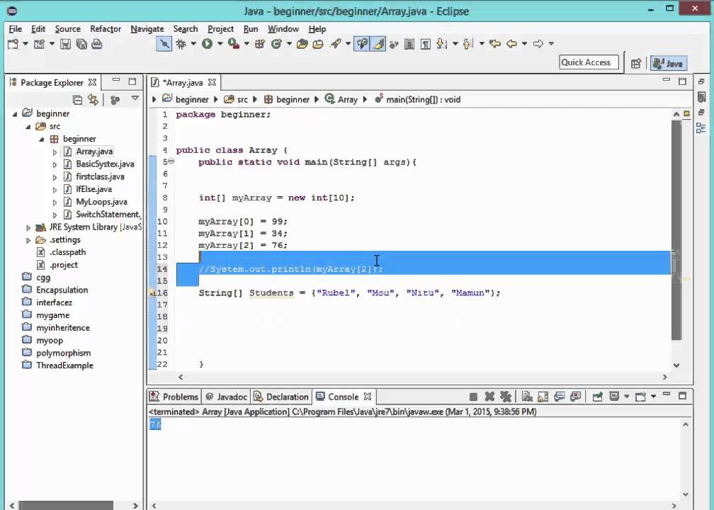 Bangla Java Tutorial 6 : Array - YouTube