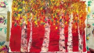 Рисуем с детьми.Осенний лес.Березы.гуашь.