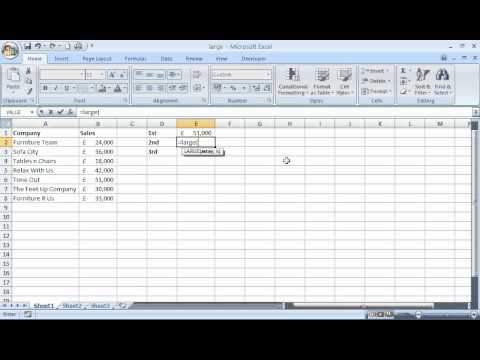 Use the LARGE function in Excel