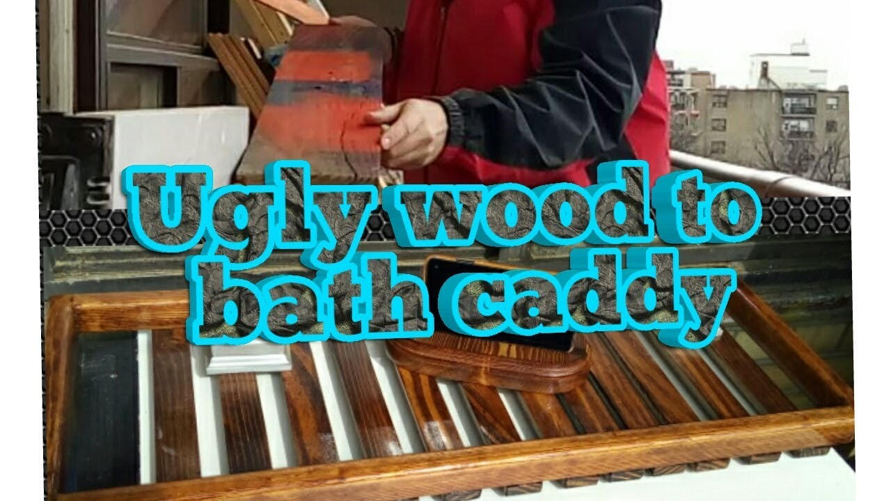 ugly wood to Bath caddy / pallet wood - YouTube