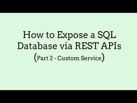 How to Expose a SQL Database via REST APIs (Part 2, Custom Service)