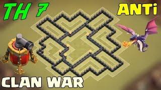 Clash of Clans - 7.Seviye Köy Binası Anti-Ejder Klan Savaşı Düzeni (th7 anti-air clan wars base )