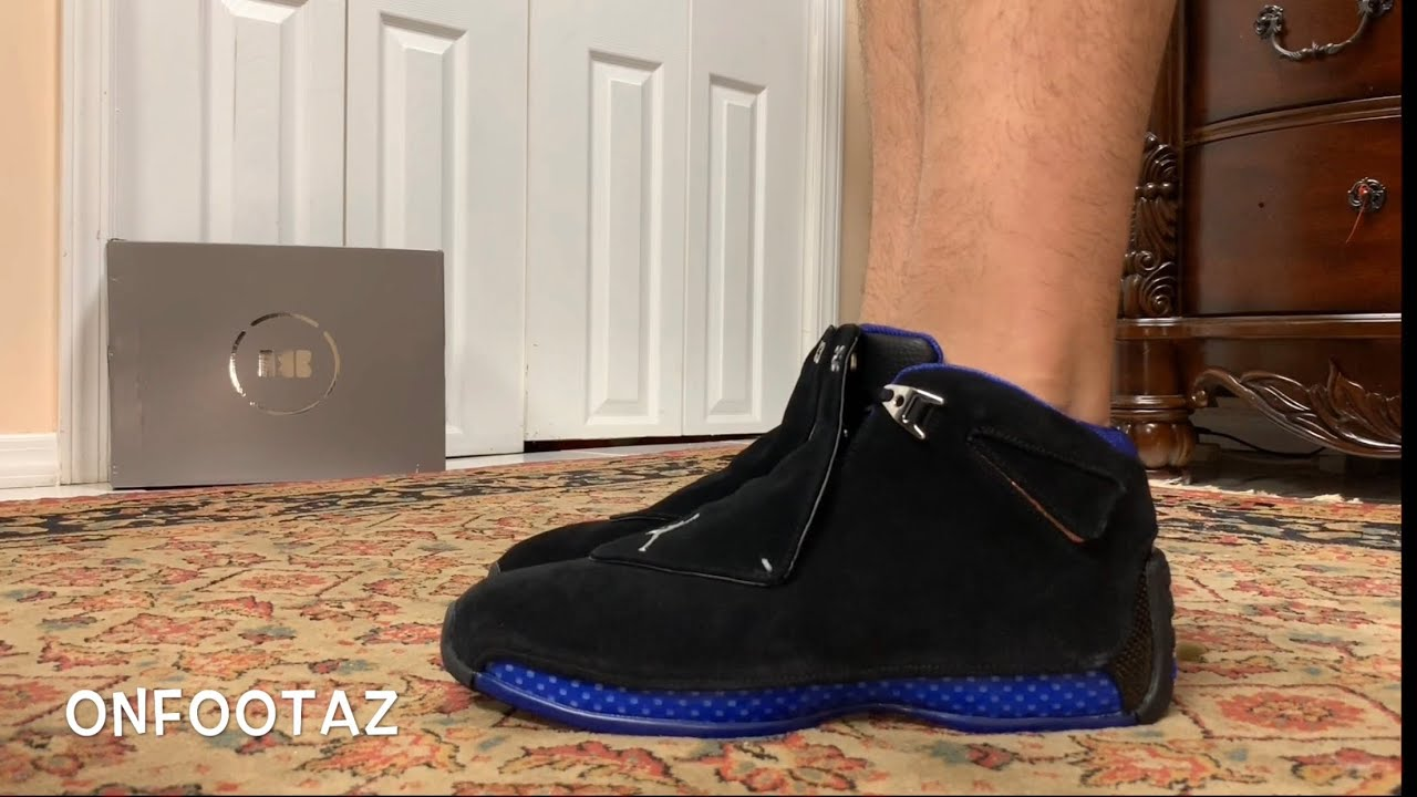 online store f69a3 9087a Air Jordan 18 XVIII OG Black Sport Royal 2018 On Foot
