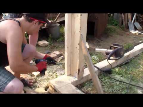 сруб из бруса, полубруса своими руками, строительство гаража часть 2