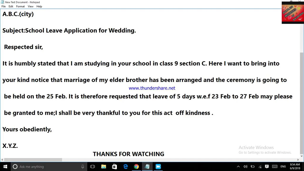 An application to the principal for leave to attened the marriage party of  my brother I MAK PLAYS I