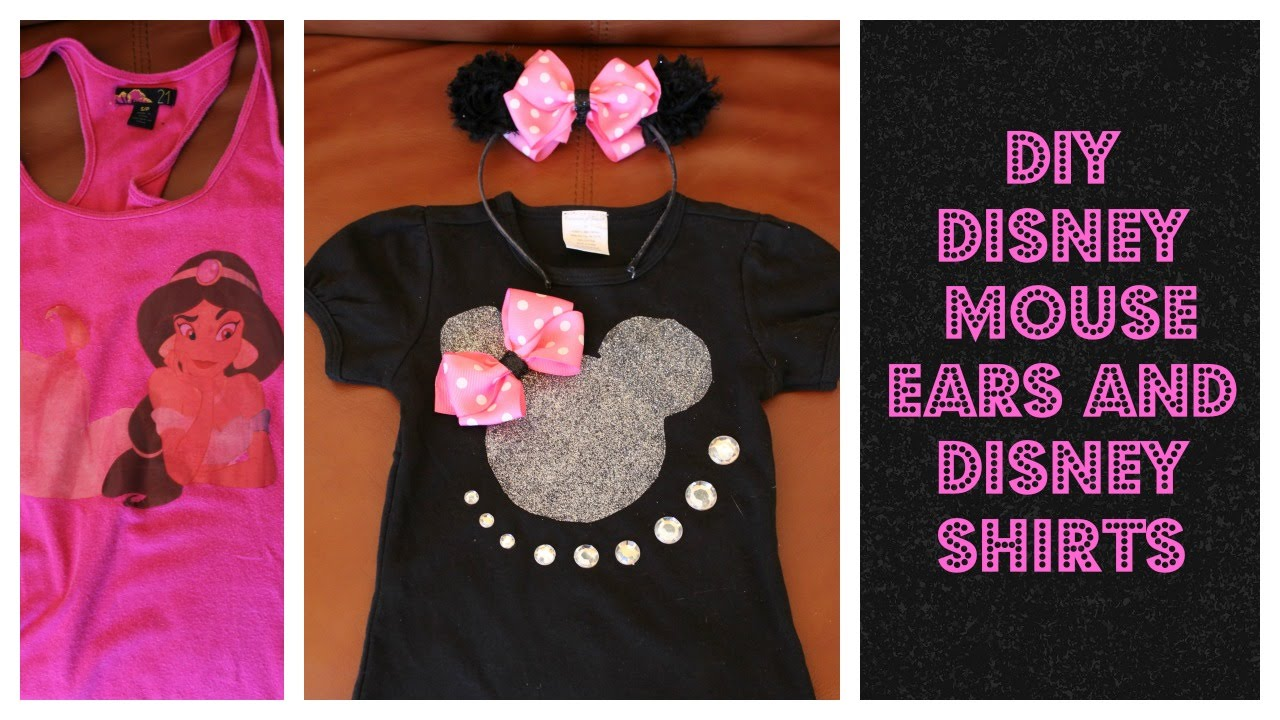 c575038c913d7 DIY Cheap Disney Minnie Ears And Disney Bling Shirts - YouTube