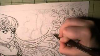 Real Time Drawing: Coloring With Copic Markers, Climbing Roses Part4