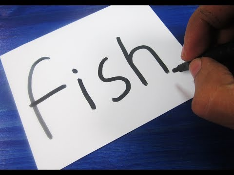 Thumbnail: How to turn words FISH into a Cartoon ! Learn drawing art on paper for kids