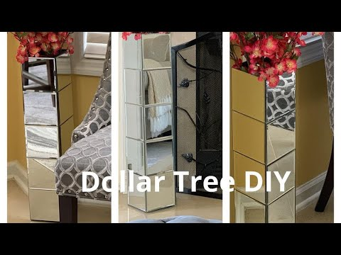 Diy Home Decor Dollar Tree Tall Mirror Floor Vase Youtube