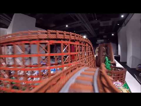 Worlds Largest LEGO Wooden Roller Coaster - Passenger view - 4 rounds