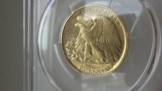 100周年2016-Wウォーキングリバティ50セント金貨PCGS SP70ファーストストライク デビッドホールサイン入り