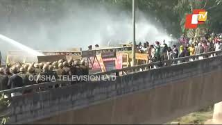 Farmer Strike-Police Use Water Cannons To Disperse Protesting Farmers
