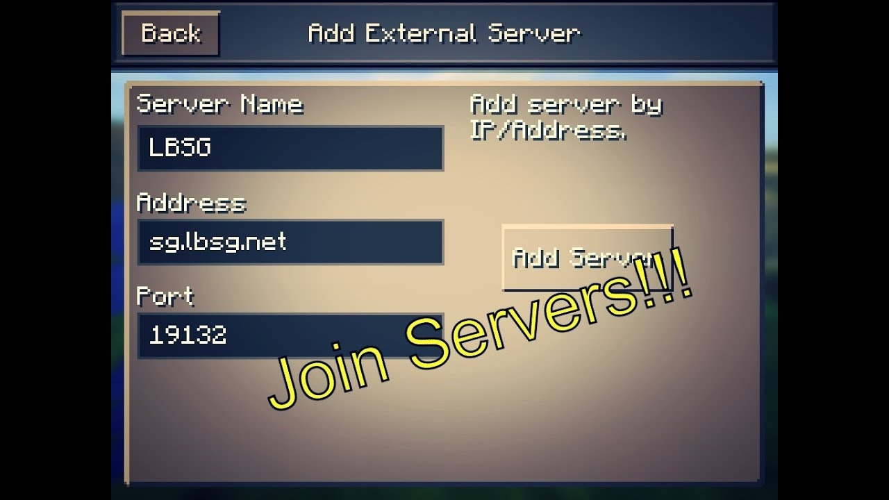 Can Address Pe Find Server I Minecraft Where