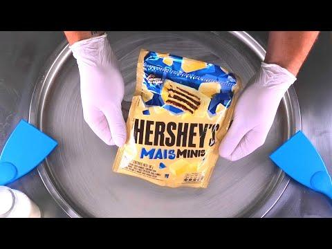 Hershey's Ice Cream Rolls   how to make Hersheys Mais Minis Waffles & Chocolate to Rolled Ice Cream