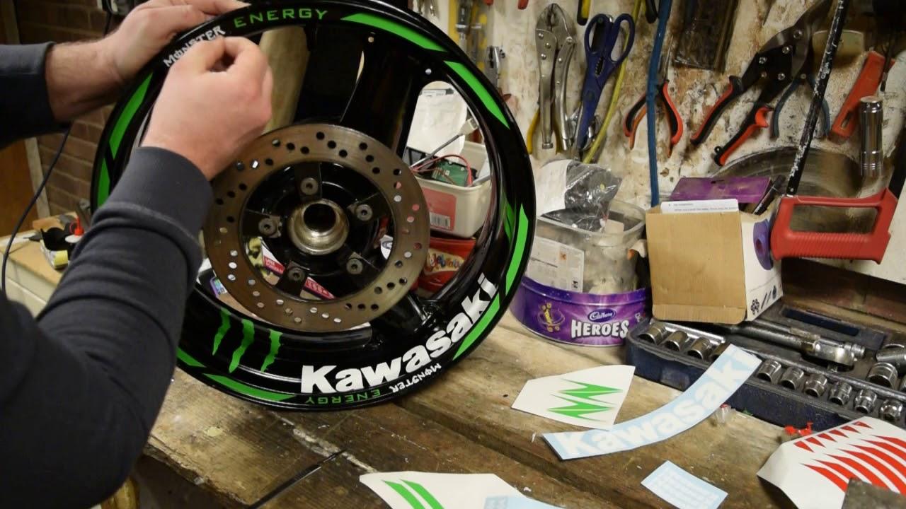 Kraftycutters Kawasaki Rim Tape And Wheel Decal Set Zx10r Zx6r Zx9r Z1000 Z750 Z800 Z900